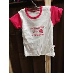 Koszulka biało-różowa -...